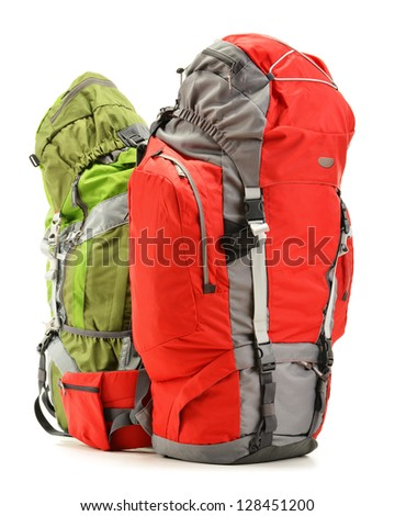 Two large touristic backpacks isolated on white