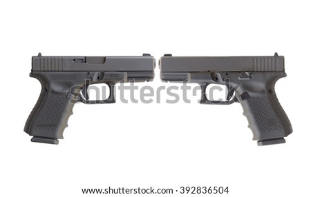 two lateral of  Automatic 9mm handgun pistol isolated on a white background - stock photo