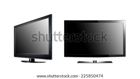 two LCD high definition flat screen TV - stock photo
