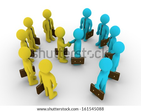 Two leaders of different business teams shake hands and the others surround them - stock photo