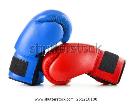 Two leather boxing gloves isolated on white.