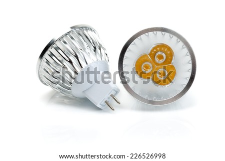 Two LED bulbs MR16. Isolate on white. - stock photo