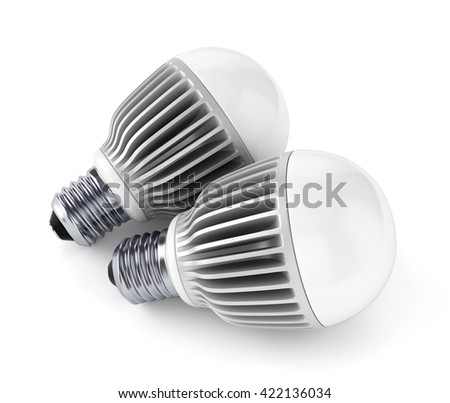 Two LED energy saving bulbs isolated on white background. 3D illustration - stock photo