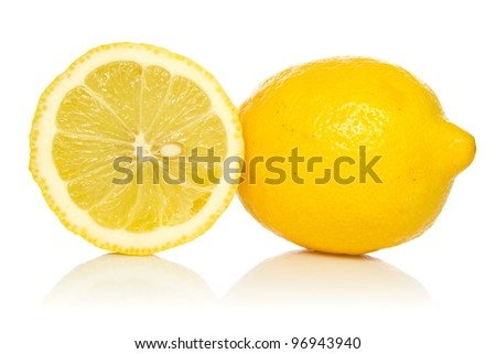 two lemons with reflection on white background