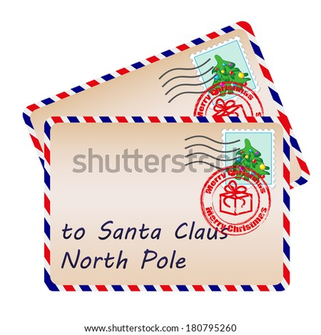 Two letters to Santa Claus with stamps and postage marks. Raster version  - stock photo