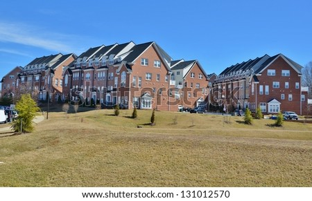 Two Level Stacked Brick Townhouses - stock photo