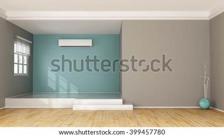 Two Levels Modern Living Room With Air Conditioner   3D Rendering