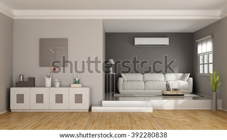 Two levels modern living room with sofa , sideboard and air conditioner- 3D Rendering - stock photo