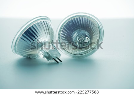two light-emitting diode lamps, in blue tone - stock photo