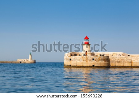 two lighthouse in Grand Harbour (Valletta, Malta)
