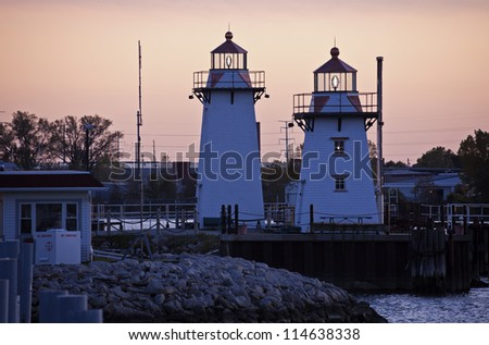 Two lighthouses in Green Bay, Wisconsin - stock photo