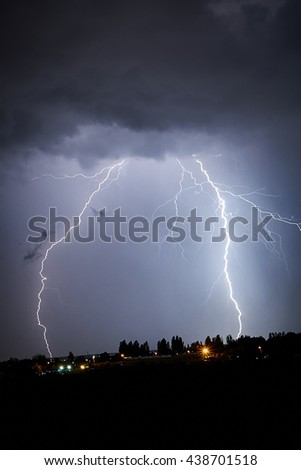 Two lightning storm at night