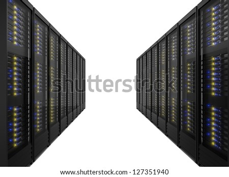 Two lines of server racks. Isolated on white background - stock photo