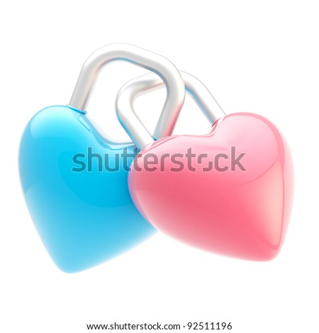 Two linked blue and pink heart shaped glossy locks isolated on white