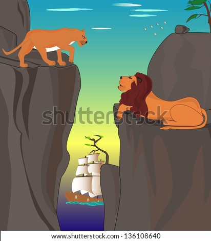 Two lions met each other in the mountains at the sunset background, Raster version. - stock photo