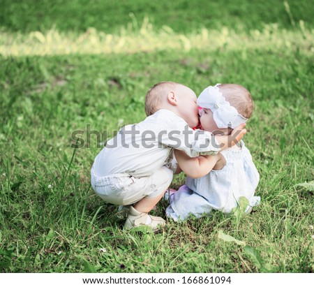 two little children outdoor - stock photo