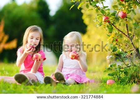 Two little girls picking apples in a garden at autumn - stock photo