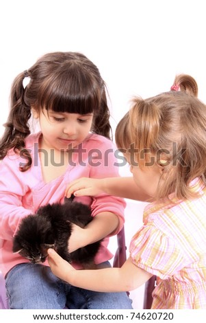Two little girls play and hold small kitten on a white background - stock photo