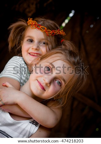 Two little girls  together
