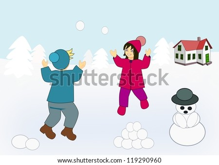 Two little kids playing in the snow. - stock photo