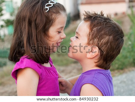 Two little romantic children