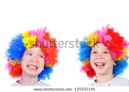 two little smiling clown brothers - stock photo