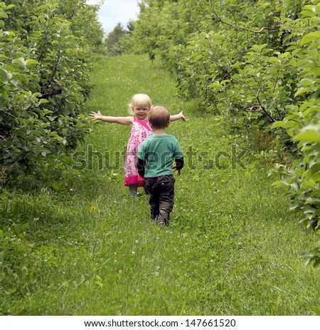 Two little toddlers boy and girl walking in the apple orchard  - stock photo