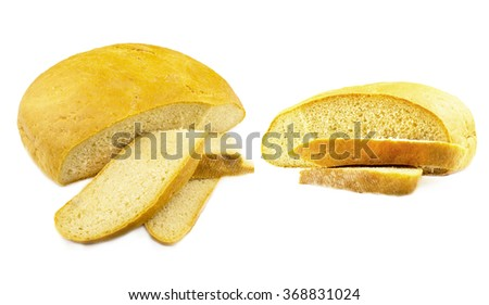Two loaf of fresh bread on a white background