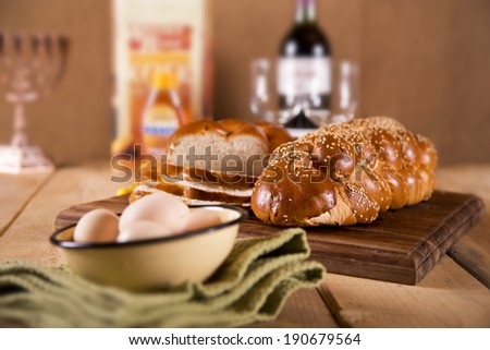 Two loaves of challah for Shabbat - stock photo