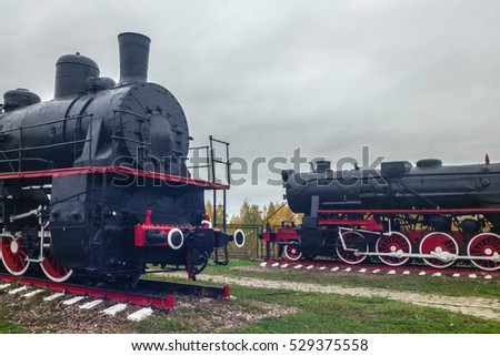 Two locomotives at the exhibition