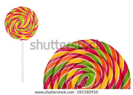 Two Lollipops candy on white - stock photo