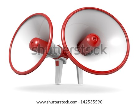 two loudhailers in red and white colors (3d render) - stock photo