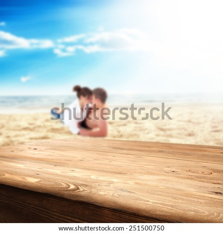 two lovers and beach with sky  - stock photo
