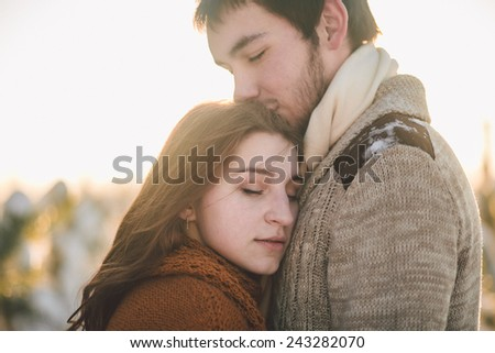 Two lovers in winter