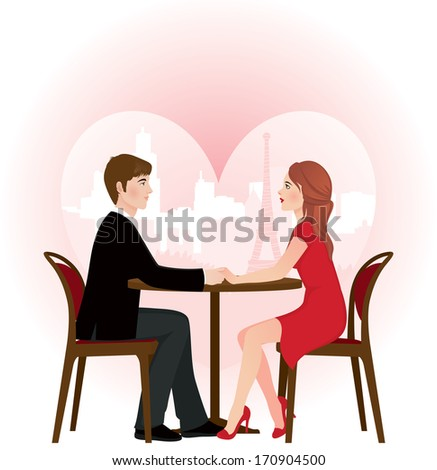 Two lovers sitting at a table in a cafe on the background of the cityscape/Loving couple on a date in the cafe/Illustration of a loving couple on a date in the cafe - stock photo