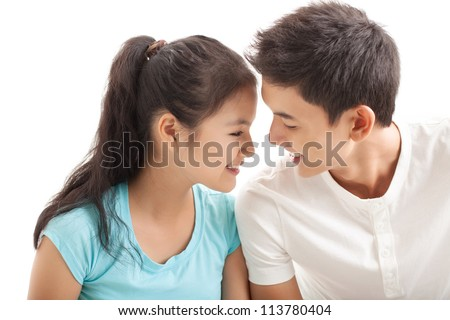 Two lovers talking face to face - stock photo