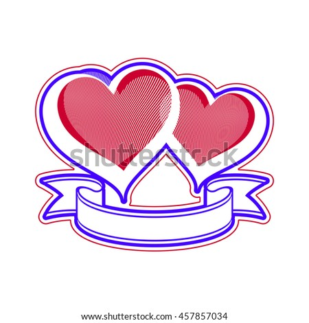 Two loving hearts illustration. Wedding couple conceptual symbol with copy space for your text. Valentine day romantic design element. - stock photo