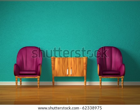 Two luxurious chairs with wooden console in minimalist interior - stock photo
