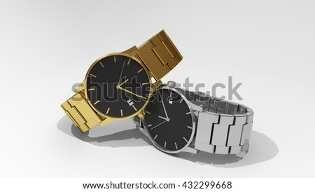 Two luxury wrist watches for men isolated on white background.3d rendering.