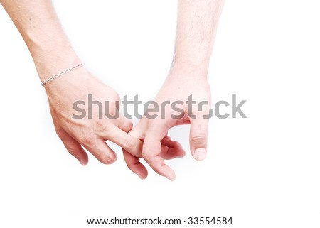 Two male hands and two fingers connected
