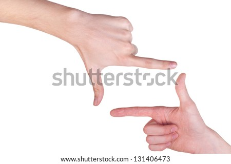 two male hands make frame shape isolated on white background