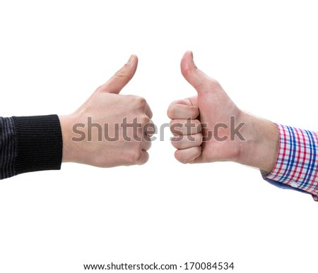Two male hands showing thumbs up sign on a  white background - stock photo