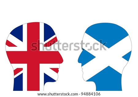 Two male head shapes filled with flags of Britain and Scotland. Note: Scotland is seeking independence from Britain. - stock photo