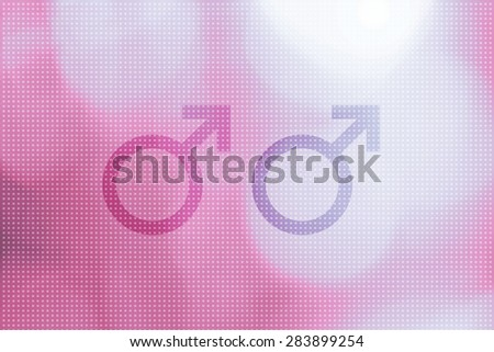 Two male symbols representing gay (homosexual) relationship. Sexual union symbols or signs on pink colored bokeh pattern illustration background. - stock photo