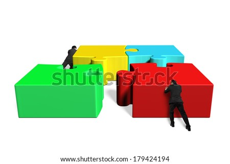 Two man assembling puzzles in white background - stock photo