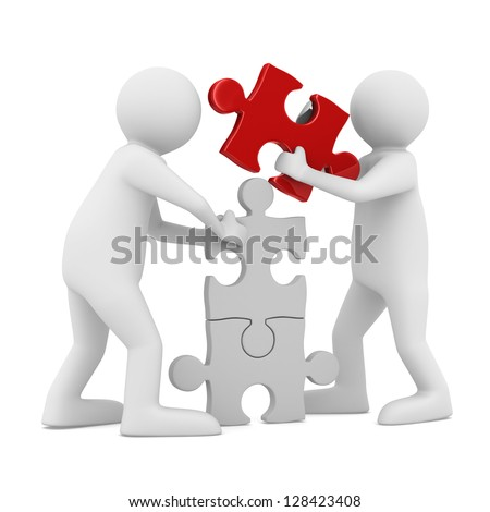 two man build puzzle on white. Isolated 3D image - stock photo