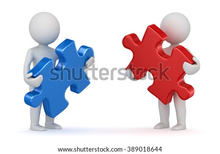 Two man holding red and blue puzzle piece. 3d render and computer generated image. - stock photo