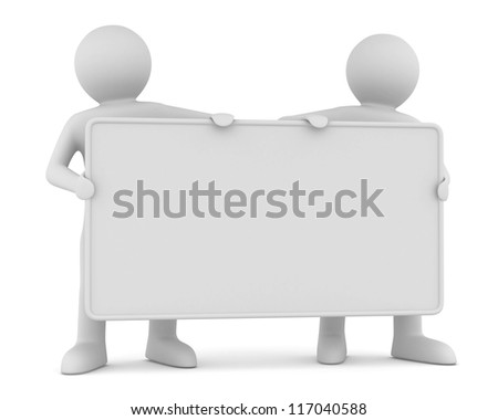 two man holds the poster in a hand. 3D image - stock photo