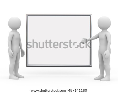 Two man with board on white background, 3d rendering