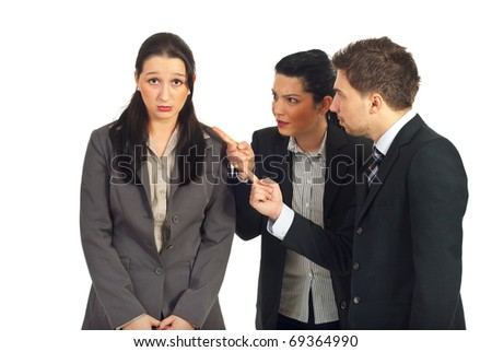 Two managers argue an employer woman isolated on white background